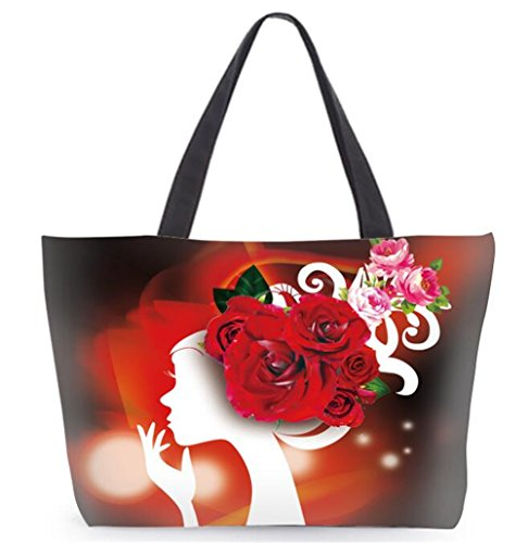 London Boutique , Damen Tote-Tasche Large rote rose