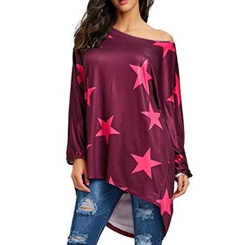 Kostenlose Kinder Sweatshirt (Damen Bluse, Beikoard Frauen Mädchen trägerloses Sweatshirt Langarm Ernte Pentagram Star Printing Jumper Pullover Polyester Tops (Rot, S))