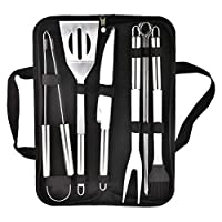 Barbecue Grill Tool Set 9Pcs Stainless Steel Utensils BBQ Grill Tool Accessories in Storage Bag for Men Dad Birthday Outdoor kitchen Camping Tailgating Backyard Grilling Picnic (Heavy Duty)