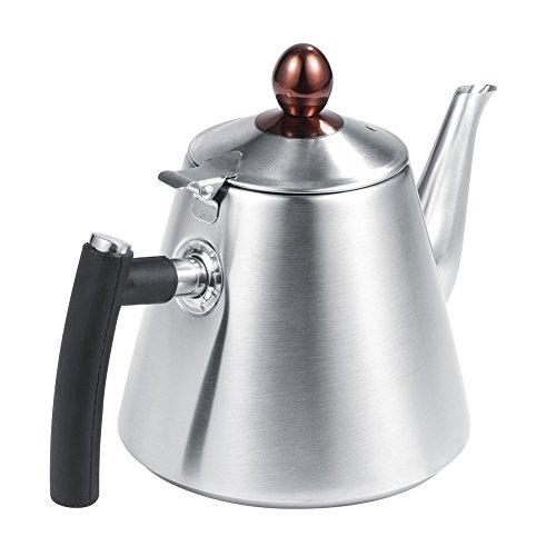 Fdit Teekanne mit Fassungsvermögen 1.2l Edelstahl Herd Teekanne Tee Kaffeekanne Wasserkocher hitzebeständig Schnell Kochendes Silikon Griff poliert (Sichere Handschuhe Beheizte)
