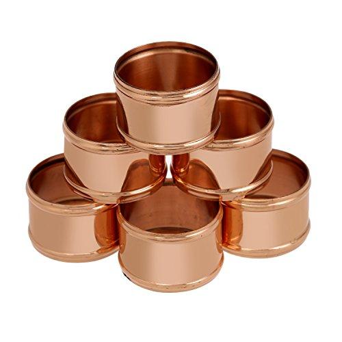 Shalinindia Kupfer Serviette Ringe Halterung für Hochzeiten, Abendessen, Partys oder den täglichen Gebrauch, Set von 6, Licht Gewicht 35Gramm, diameter-1.75Zoll (Mama Für Party-ideen 75. Geburtstag)