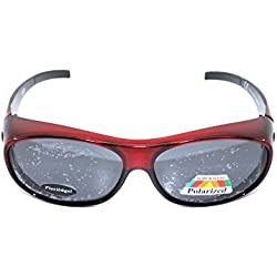 Sonnen-Überbrille UV 400 Polarisiert f. Brillenträger Polbrille Set TV rot Neues Model Flexbügel
