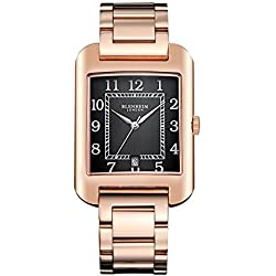 Blenheim London® B3180 Curve Rose Gold Watch Black Arabic Numeral with Silver Hands with Stainless Steel Strap