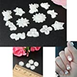 EasyBuy India 60pcs Wihte Flower Nail Art Stickers Mix 3D Acrylic Nail Art Tips