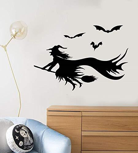 Vinyl Wandtattoo Cartoon Hexe Besom Halloween Fledermaus Aufkleber weihnachtsfeier dekoration wohnzimmer dekoration 42 * 61 cm