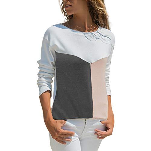 4cbc2e01a1c807 POIUDE Frauen Bluse Mode Nähen Kontrastfarbe Casual Patchwork Farbblock  Rundhalsausschnitt Lange Ärmel T-Shirt Bluse Top(Rosa, XXL)