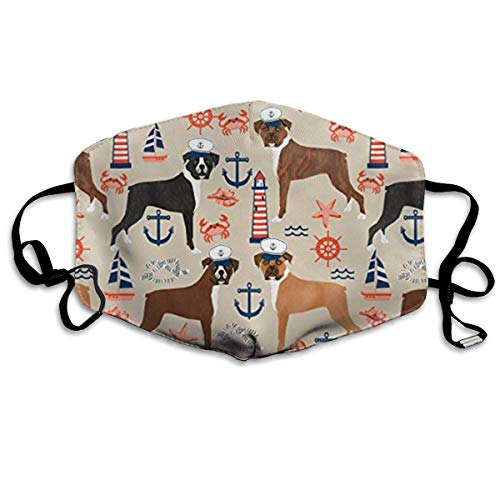 Vbnbvn Bocca Maschera,Antipolvere Maschera,Boxer Nautical Summer Tropical Dogs Cotton Mouth Masks,Anti-dust Face Mask for Women and Men