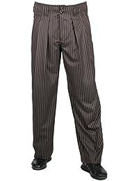 Schokobraun weiss gestreifte Bundfaltenhose im Stil der 50er, 60er für Herren BESTE QUALITÄT, Luxus-Bundfaltenhose bei HK Mandel, Hosen Modell: Boogie, 301709
