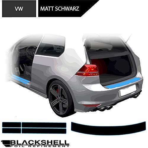 BLACKSHELL Ladekantenschutz + Einstiegsleisten Set inkl. Premium Rakel für Golf 6 Limo 5-Türer Matt Schwarz - passgenaue Lackschutzfolie, Auto Schutzfolie