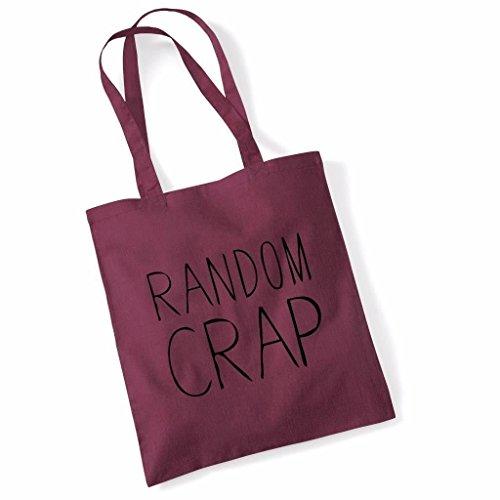 Print Canvas Shopper (Tote Bag For Women Random Crap Slogan Print Shopper Shoulder Canvas Bags 100% Cotton Plum)
