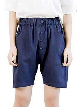 6e35fd9be15dec LvRaoo Pantaloncini in lino estivo da Donna Stile Harem con Decorazione a  Bottoni Pantaloni Corti estivi