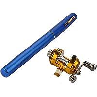 jshanmei® Mini Pocket lega di alluminio retrattile penna pesca Rod Palo con Baitcasting Bobina Kit (Bobine Diving)