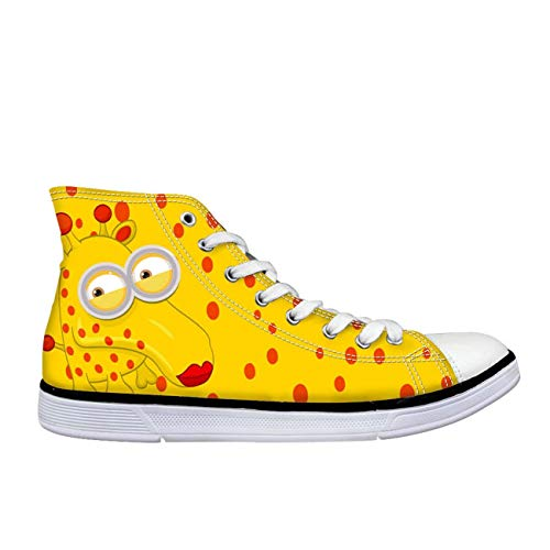 Lovely Cartoon Animal Hi Top Canvas Trainers Shoes Flat Lace Up Plimsolls Pumps Yellow UK 7