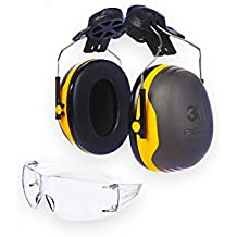 3M PELTOR X2P3 Orejeras para casco con anclaje P3E 30db amarillas (1 orejera/caja) y 3M SFIT0AS SecureFit SF201AS Gafas de Seguridad