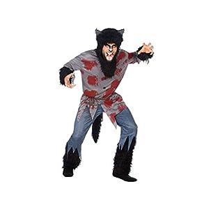 Atosa-54839 Disfraz Lobo Sangriento para Hombre Adulto, Color negro, M-l. (54839