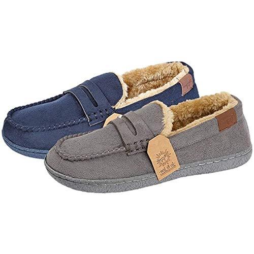 Boys Kids Junior Fleece Lined Moccasin Warm Winter Slip On Slippers Shoe Size