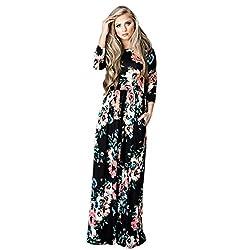 Bluester Women Boho Floral Long Sleeve Dress, Ladies Evening Party Long Maxi Dress