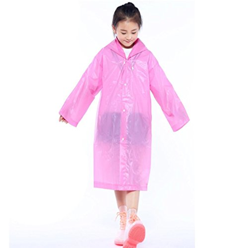 Ears 1PC Children Reusable Raincoats Children Rain Ponchos for 6-12 years Old Tragbar Raincoats (Rosa)