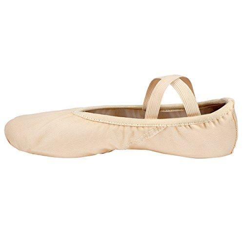 Zapatos de Ballet de Pata de Gato Zapatos de Baile de Cuero con Suela Plana de Lona Zapatos de Gimnasia/Yoga para Niñas Damas de Mujeres en Tamaños de Niños y Adultos