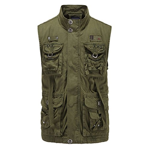 Zhhlinyuan cadeau père High Quality Mens Hiking Mountain Vest Tops Multipocket Casual Waistcoat Stand Collar green