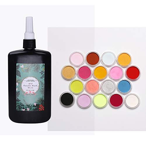 Joligel 250g UV-Epoxidharz Crystal Clear Transparent ungiftig + 18 Farben Pigment Pulver Superfine Mehrfarbig, Home Epoxy DIY Kit -