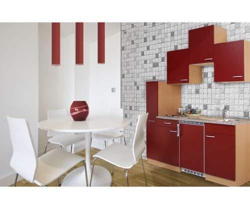 respekta KB180BR Küchenzeile Küchenblock Single Küche Buche ROT 180 cm 150 cm + 30 Apothekerschrank