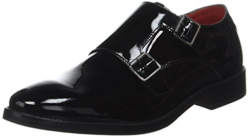 Base London Herren Nash Slipper Schwarz - Noir (Patent Black)