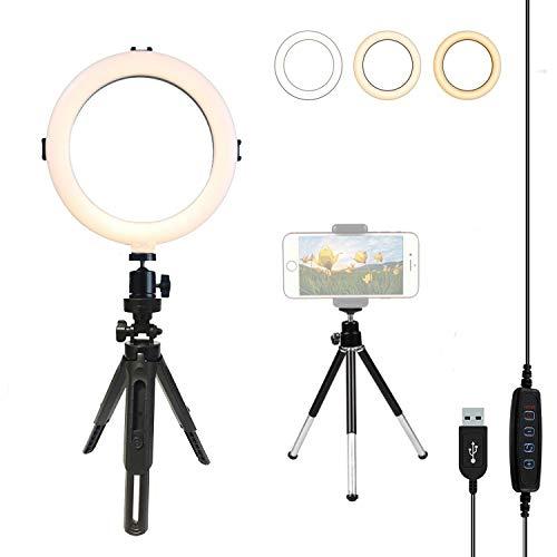 LTLife Selfie-Ring-Licht, Mini-Schreibtisch-LED-Lampe, dimmbar, für Live Stream/Make-up/YouTube-Video, kompatibel mit iPhone XS, Max XR, Android, 8 inch with Tripod Stand Universal Tripod Kit