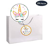AMZTM Pack of 48PCS Magical Unicorn Thank You Stickers Rainbow Unicorn Themed Tags for Girls Birthday Baby Shower Party Decoration Supplies