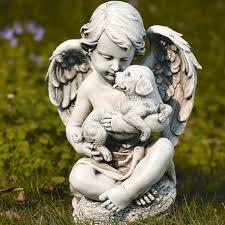 Cherub mit Welpen Statue -