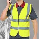 2 Pack, Warnweste mit hoher Sichtbarkeit Fluoreszierende Arbeitskleidung reflektierende Warnweste mit Reißverschluss-Taschen-Motorradjacke, S