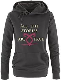 Comedy Shirts - All the stories are true - Shadowhunters - Damen Hoodie - Kapuze, Kängurutasche, Langarm, Print-Pulli