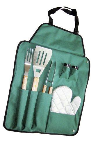 PAPILLON 94601 Utensili Barbecue con Grembiule Verde