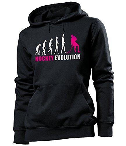 love-all-my-shirts Hockey Evolution 618 Sport Frauen Damen Hoodie Pulli Kapuzen Pullover Kapuzenpullover Sportbekleidung Sport Fanartikel Schwarz Aufdruck Pink M