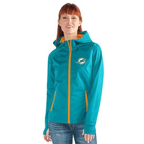 GIII For Her NFL Damen Stand ermöglicht Kick Light Gewicht Full Zip Jacket, Damen, Onside Kick Light Weight Full Zip Jacket, Aqua, Small Full-zip Logo Jacket