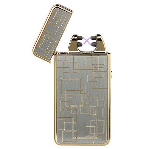 Kivors® Elektronisches Feuerzeug Neuheit tragbar USB aufladbar dopple Lichtbogen tragbar