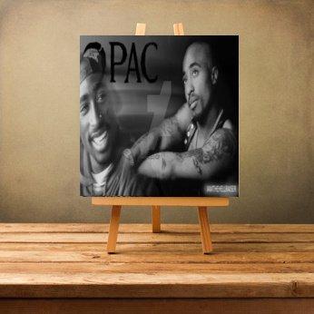 Shakur schwarz und weiß Double Image Smiling Schatten Hintergrund Hip Hop Rap 25,4x 20,3cm gerahmt Kunstdruck auf Leinwand (Hip-hop-hintergrund)