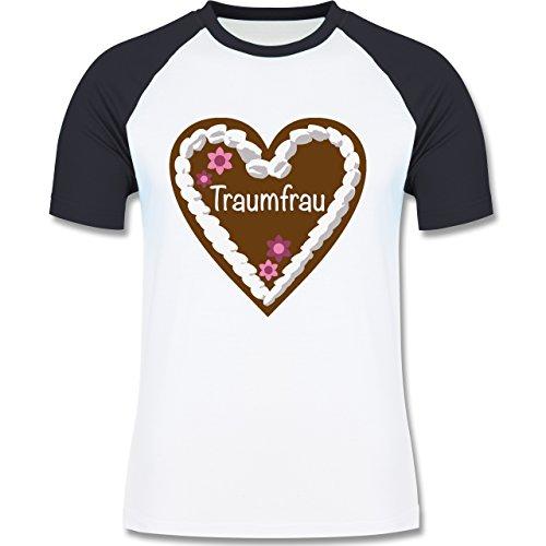 Valentinstag - Lebkuchenherz Traumfrau - zweifarbiges Baseballshirt für Männer Weiß/Navy Blau