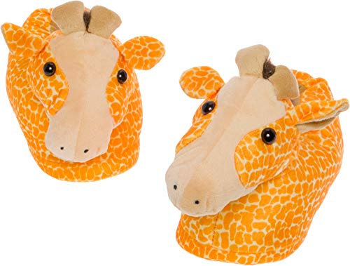 Silver Lilly Giraffe Slippers - Plush Animal Slippers w/Comfort Foam Support