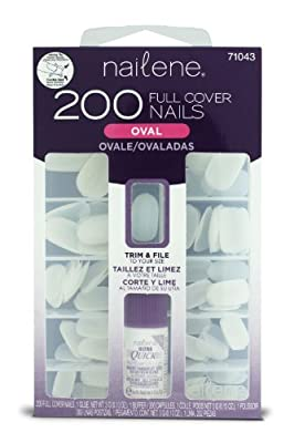 Nailene So Natural Full Cover 216 Oval Nail Tips (12 sizes), with glue