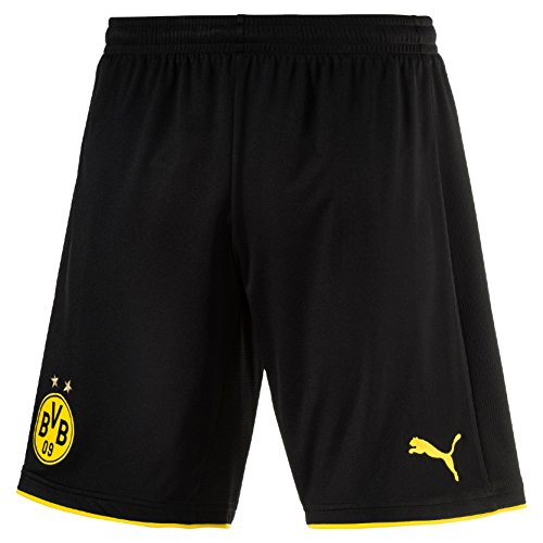 PUMA Herren Hose BVB Replica Shorts with Innerslip schwarz - Black/Cyber Yellow, L