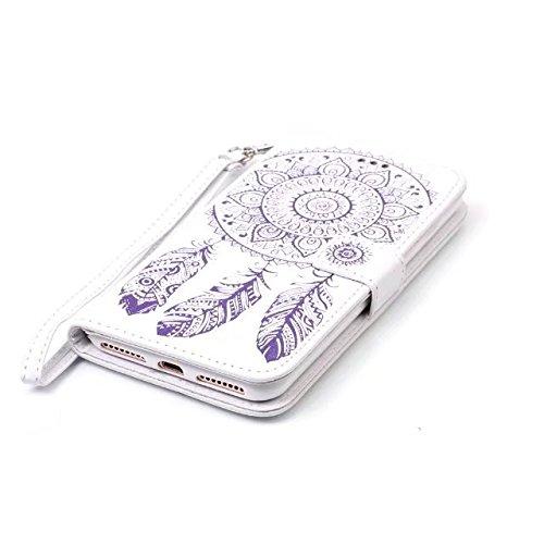 Cover iPhone 7 Plus,iPhone 8 Plus Coque,Valenth Leather Wind Chimes Partern Etui [Slots pour cartes] Coque Etui de protection pour iPhone 8 Plus / iPhone 7 Plus 1#