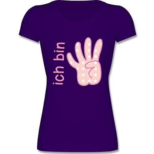 Geburtstag Kind - Ich Bin 4 Maedchen Zeichensprache - 128 (7-8 Jahre) - Lila - F288K - Mädchen T-Shirt