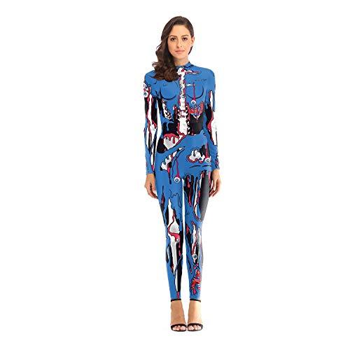 Toysskyr ruolo di lady adulto carnevale che gioca costume tuta elastica (colore : blu, dimensioni : l.)
