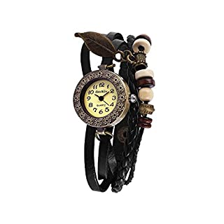 Kamiustore - Mod. Native Alain Miller - Damenuhr mit Armband aus echtem Leder im Vintage-Stil  - Schwarz