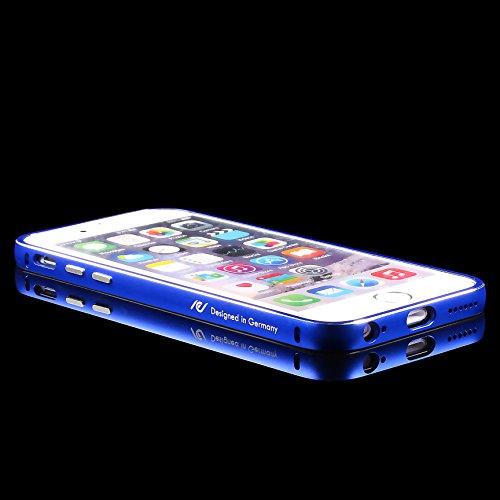 URCOVER® Custodia Bumper in Alluminio Rosso + Back Case Trasparente Apple iPhone 6 plus / 6s plus | Cover Protettiva Leggera e Ultrasottile Blu