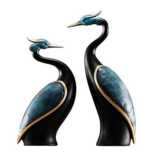 DONGLU Kran fertigt Hauptdekorations-Verzierungs-europäische Geschenk-Statuen-Grafik (Farbe : Blau)