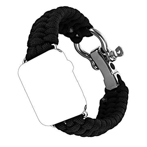 atibel mit Apple Watch Series 3/2/1, 38mm Paracord Nylon Sport Erstatzband-Schwarz ()