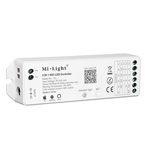 LIGHTEU®, Milight 5 in 1 WiFi LED-Streifen Steuerung Amazon Alexa Sprachsteuerung Fernbedienung und APP-Steuerung, Kompatibel mit Einfarb-, CCT-, RGB-, RGBW- und RGB + CCT-Ausgabemodus, DC12-24V, YL5 -