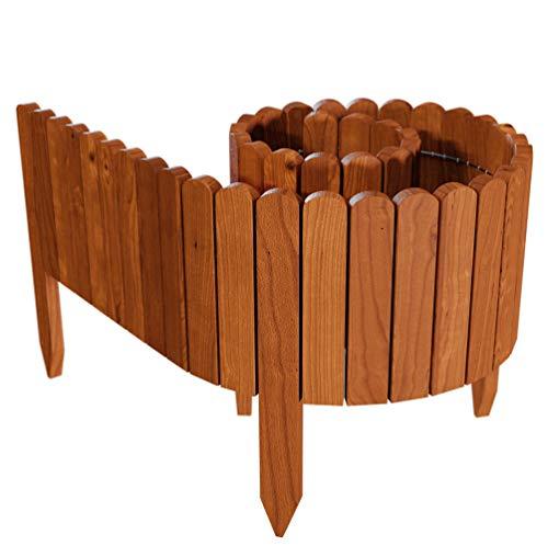 Floranica® Flexibeler Beetzaun 203 cm (kürzbar) aus Holz als Steckzaun Rollboarder, Beeteinfassung, Kanteneinfassung, Rasenkante oder Palisade - wetterfest imprägniert, Farbe:braun, Höhe:20 cm